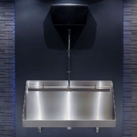 H&L 1200mm Wall-Hung Stainless Steel Urinal Trough with Exposed Cistern